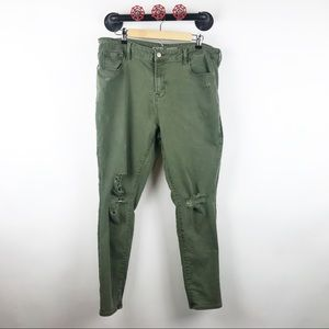 Olive green mid rise skinny jeans